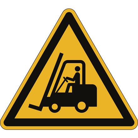 Advarselsklistermærke Hold øje med trucks Ø43cm 0,4mm gul/sort