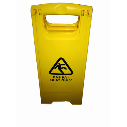 """Advarselsskilt med piktogram """"Pas på - glat gulv"""" gult"""