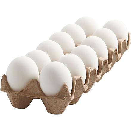 Æg 6 cm høj hvid plast - 12 stk.