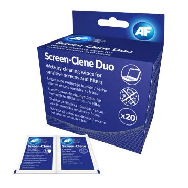 AF Screen-Clene Duo - Skærmrens Våd- og Tørservietter - 20 stk