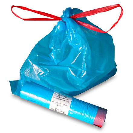 Affaldsposer med snortræk lukning 25 my - 440 x 520 mm blå 25 poser pr rulle