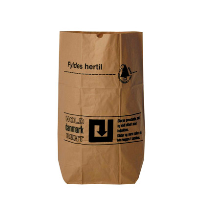 Affaldssække papir 70x95x25cm 1-lags vådstærk brun 4sække/pak