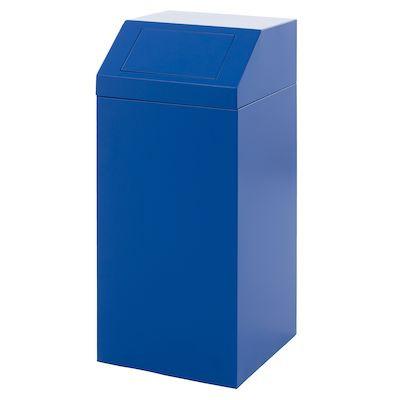 Affaldsspand, med push låg, med metal inderspand, brandsikker, kildesortering mulig, blå, 76 l