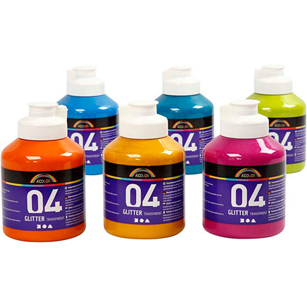 Akrylmaling - A-Color - Assorteret farver - 04 glitter - 6 x 500 ml
