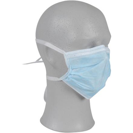 Ansigtsmaske, Abena, med bindebånd, 3-lags, Type II, latexfri, blå,