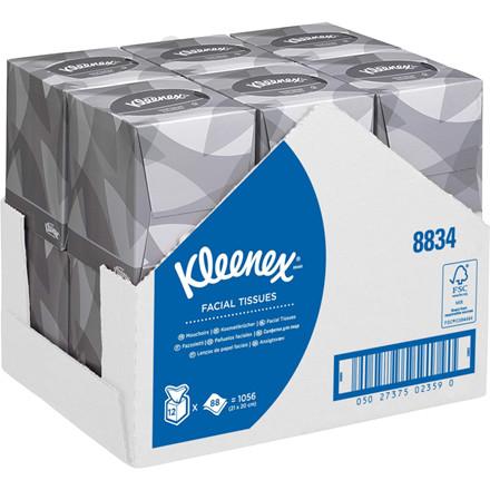 Ansigtsservietter, Kimberly-Clark Kleenex, 2-lags, 30,8x23,4cm, hvid, 100% nyfiber *Denne vare tages ikke retur*