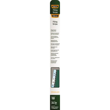 Arkiv strips A4 Fellowes t/plastspiraler klar 100stk/pak