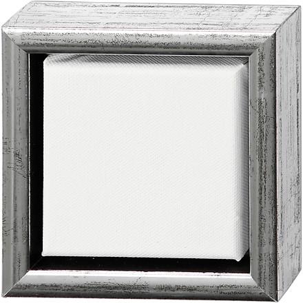 ArtistLine Canvas med ramme, udv. mål 14x14 cm, dybde 3 cm, hvid, antik sølv, 1stk., indv. mål 10x10 cm