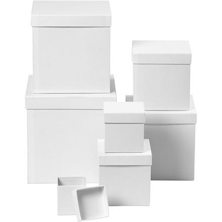 Æsker firkantede størrelse 7,5+10+13+15+18+20+23 cm hvid | 7 stk.