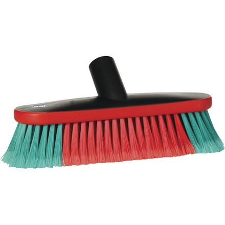 Autobørste, med vandgennemløb, bløde/spaltede børster, gummikant, sort/rød/grøn, 25  x  9 cm,