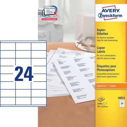 Avery 18022 - Kopietiketter 24 pr. ark 33,9 x 70 mm - 100 ark