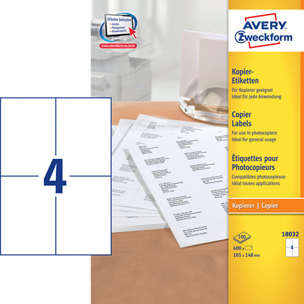 Avery 18032 - Kopietiket 4 pr. ark 105 x 148 mm - 100 ark