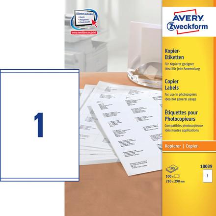 Avery 18039 - Kopietiket 1 pr. ark 210 x 290 mm - 100 ark