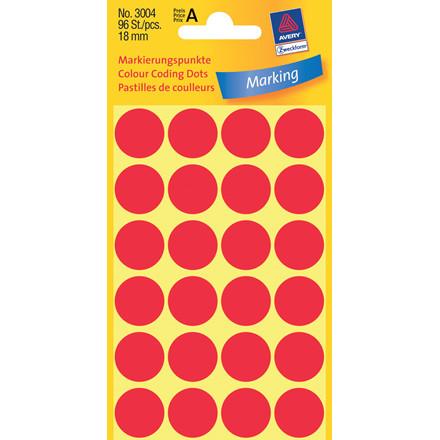 Avery 3004 - Runde etiketter rød Ø: 18 mm - 96 stk