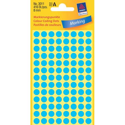 Avery 3011 - Manuelle etiketter blå Ø:8 mm - 416 stk