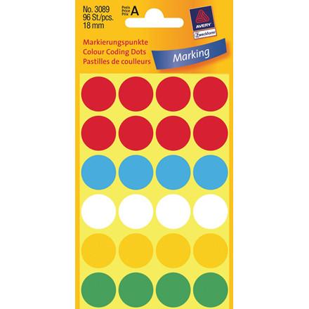 Avery 3089 -  Manuelle etiketter i assorteret farver Ø: 18 mm - 96 stk