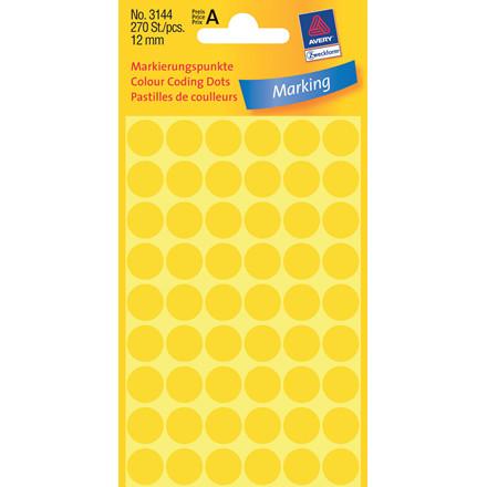 Avery 3144 Manuelle etiketter gul Ø: 12 mm - 270 stk