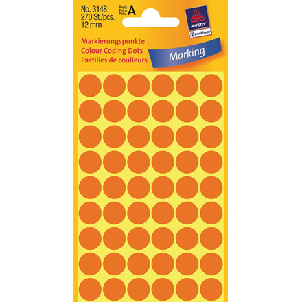 Avery 3148  - Runde labels neon orange Ø: 12 mm - 270 stk