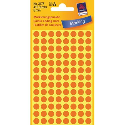 Avery 3178  - Runde Eiketter neon orange Ø: 8 mm - 416 stk