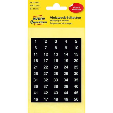 Avery 32-443 | Selvklæbende numre 1 til 500 | 14 x 9 mm