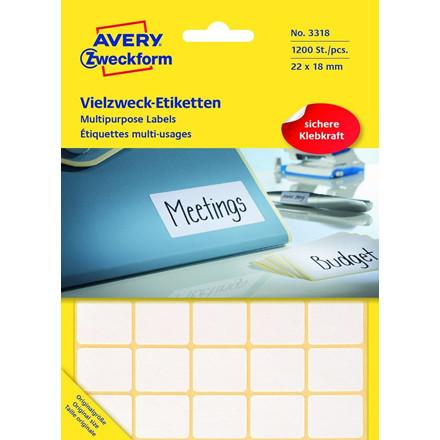 Avery 3318 - Manuelle etiketter hvid 22 x 18 mm - 1200 stk