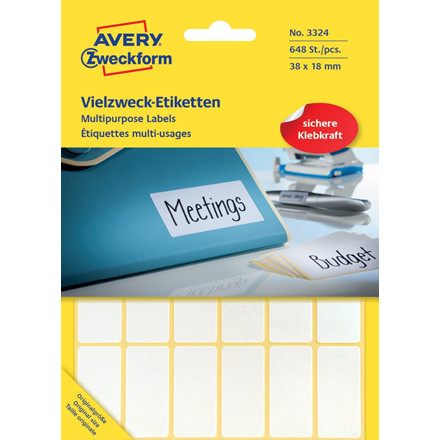 Avery 3324 Manuelle etiketter hvid 38 x 18 mm  - 648 stk