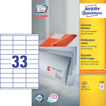 Avery 3421 - Universal etiketter 25,4 x 70 mm -  3300 stk