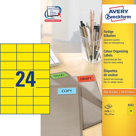 Avery 3451  - Etiketter gul 24 pr. ark 70 x 37 mm -  100 ark