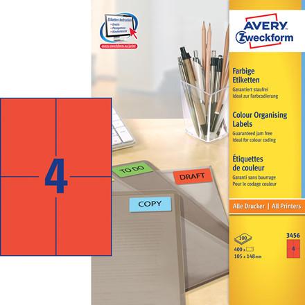 Avery 3456 - Etiket rød 4 pr. ark 105 x 148 mm - 100 ark