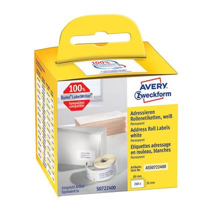 Avery adresseetiket på rulle 89x36mm (260)