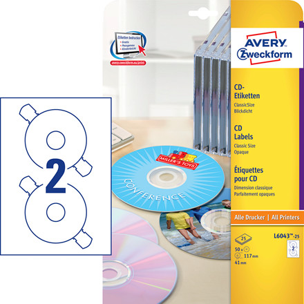Avery L6043-25 - CD-labels Ø: 117mm - 50 stk
