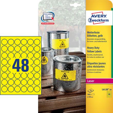 Avery L6128-20 - Heavy Duty Etiket gule 48 pr. ark Ø: 30mm - 20 ark