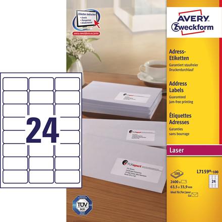Avery L7159 - Laserlabel 24 pr. ark 63,5 x 33,9 mm - 100 ark
