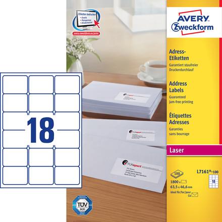 Avery L7161 - Laseretiket 18 pr. ark 63,5 x 46,6 mm - 100 ark