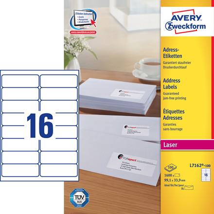 Avery L7162 - Laseretiket 16 pr. ark 99,1 x 33, 9 mm - 100 ark