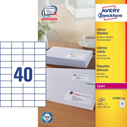 Avery L7184 - Laser label 40 pr. ark 52,5 X 29,7 mm - 100 ark