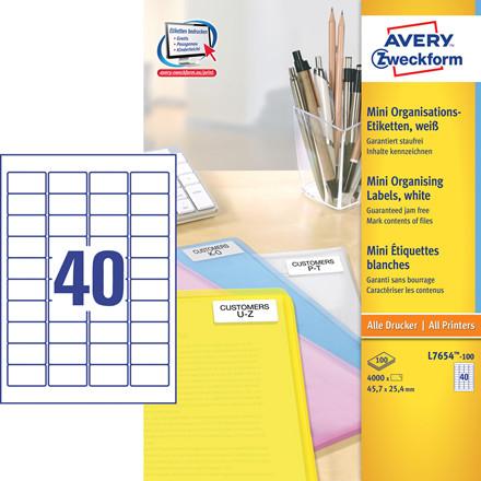Avery  L7654-100 - Laserlabel 40 pr. ark 45,7 x 25,4 mm - 100 ark
