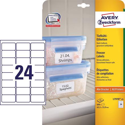 Avery  L7970-25 - Frost etiketter 24 pr. ark 63,5 x 33,9 mm  - 25 ark