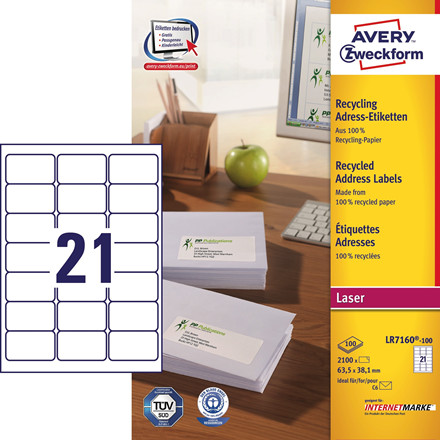 Avery LR7160 - Laserlabels 21 pr. ark 63,5 x 38,1 mm - 100 ark