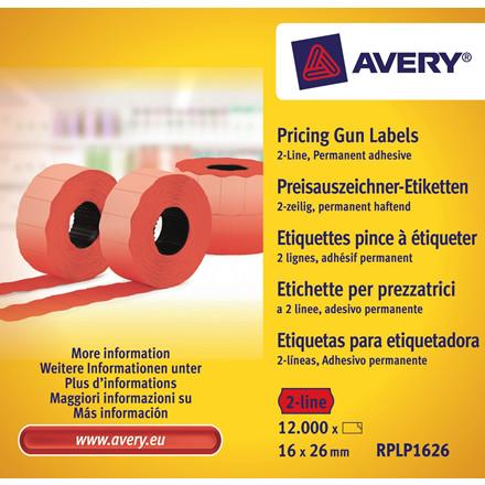 Avery RPLP1626 - Pris etiketter 26 x 16 mm rød 2 linjer - 12000 stk