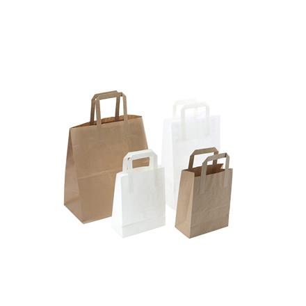 Papir bærepose i brun 11,5 L 70g - 220/125 x 350 mm 250 stk i pakken