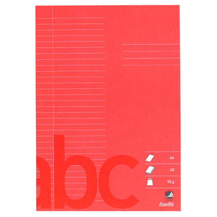 Bantex Kladehæfte A4 - Rød med 32 linjer 8,5 mm - 40 sider