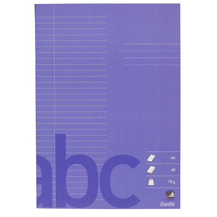Bantex Skolehæfte A4 - Mørk lilla linjeret med 32 linjer - 40 sider