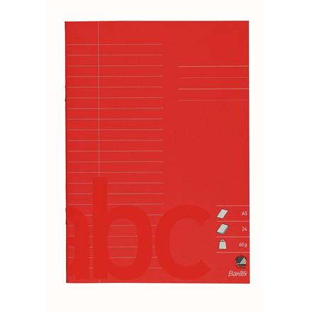 Bantex skolehæfte A5 linjeret - Rød 22 linjer - 24 sider