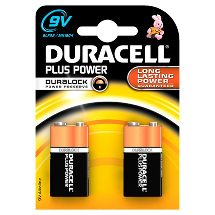Batteri 9V Plus Power Duracell - 2 stk i en pak