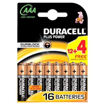 Batteri Duracell Plus Power AAA 16stk/pak (12+4 FREE)