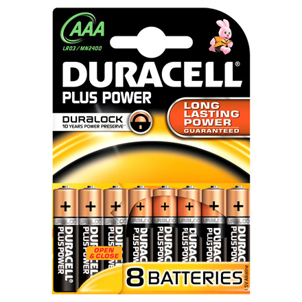 Batteri Duracell AAA Plus Power - 8 stk i en pakke