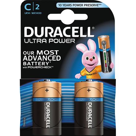 Batteri Duracell Ultra Power C alkaline m/tester 2st/pkt