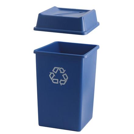 Beholder, Rubbermaid, rektangulær, til kildesortering, med påtrykt genanvendelses tegn, blå, 132 l