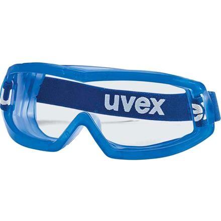 Beskyttelsesbrille, lukket med elastikbånd, antidug, blå, one size